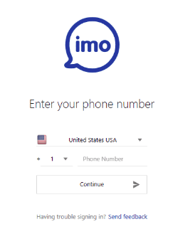 Enter a virtual number for Imo in the registration form