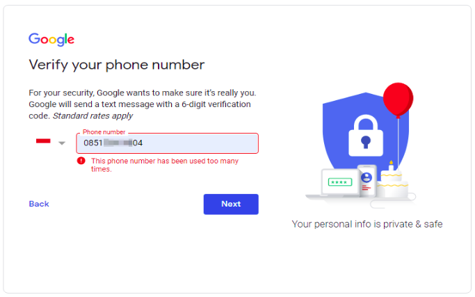 Use a fake phone number for Gmail registration