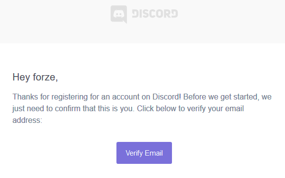 Verify an email address for your fake Discord login