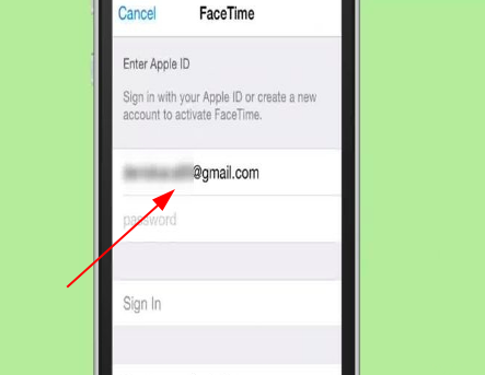 Choose an email address for Facetime