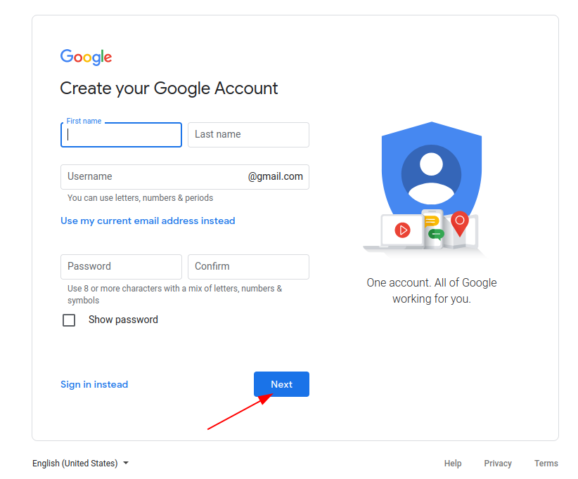 Fill in a registration form on Gmail