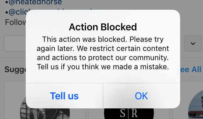 Action blocked Instagram: what to do?