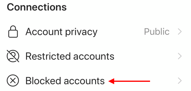 Go to blocked accounts Instagram