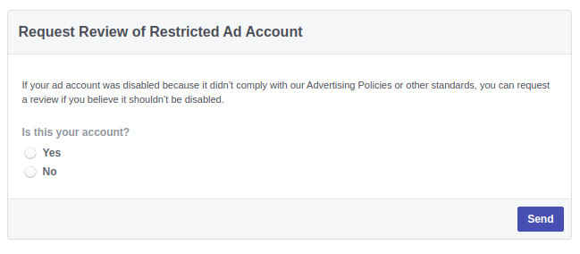 Request a review to recover Facebook ad account