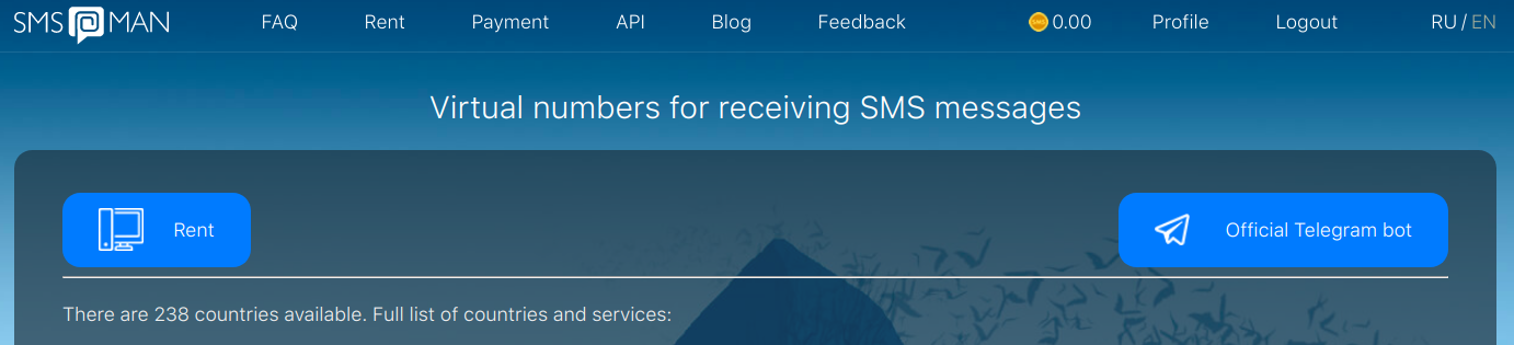 Buy a virtual number for Google Voice at sms-man.com