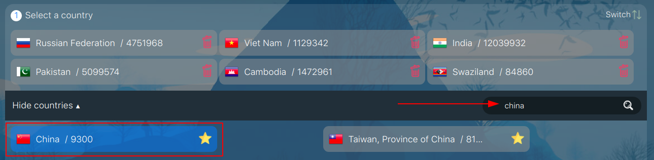 Select a virtual Chinese phone number at sms-man.com