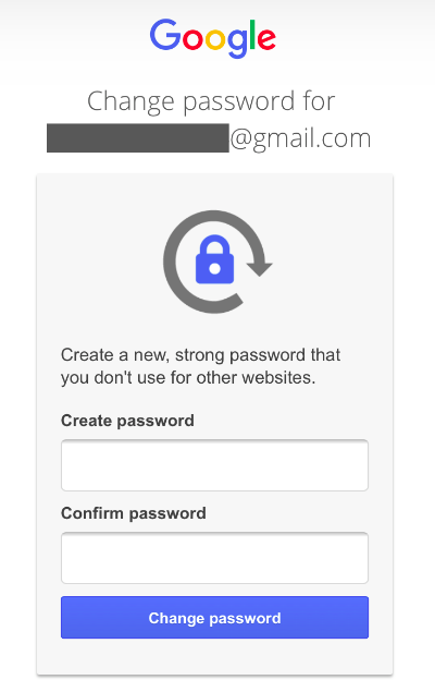 Change your password after Gmail recovery without phone number