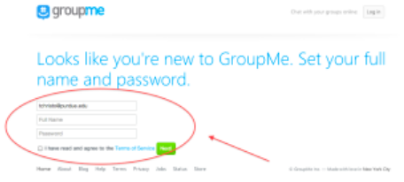 Fill in the sign-up form on GroupMe