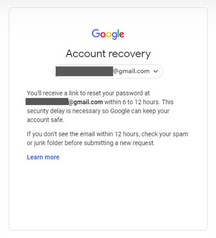 Wait for a letter with approval for Gmail account recovery without phone number and email