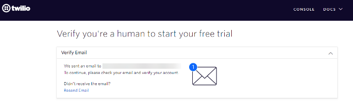 Verify your email address to register on Twilio