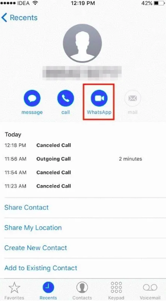 How to WhatsApp without saving number on iPhone via Recents