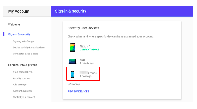 Choose which device you need to lock via Google
