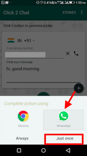 Send a WhatsApp message without saving number on Android via Click 2 Chat