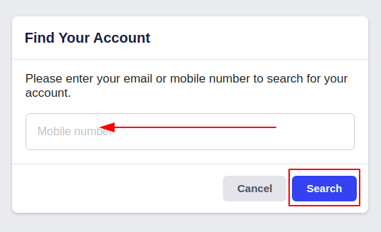 How to recover Facebook account - search your profile by your phone number or email address