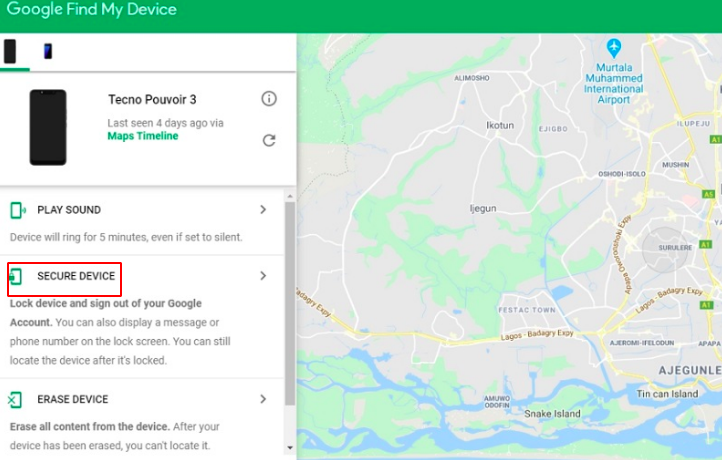 Secure a device stolen via your Google account