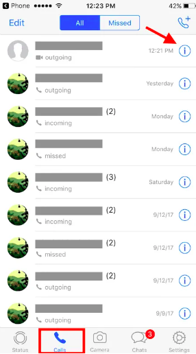 How to WhatsApp without saving number on iPhone - use the tab Calls