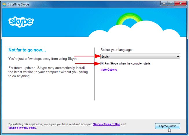 How do I install Skype on my PC - choose the language