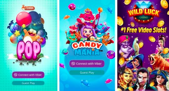 Viber online games installation on a smartphone