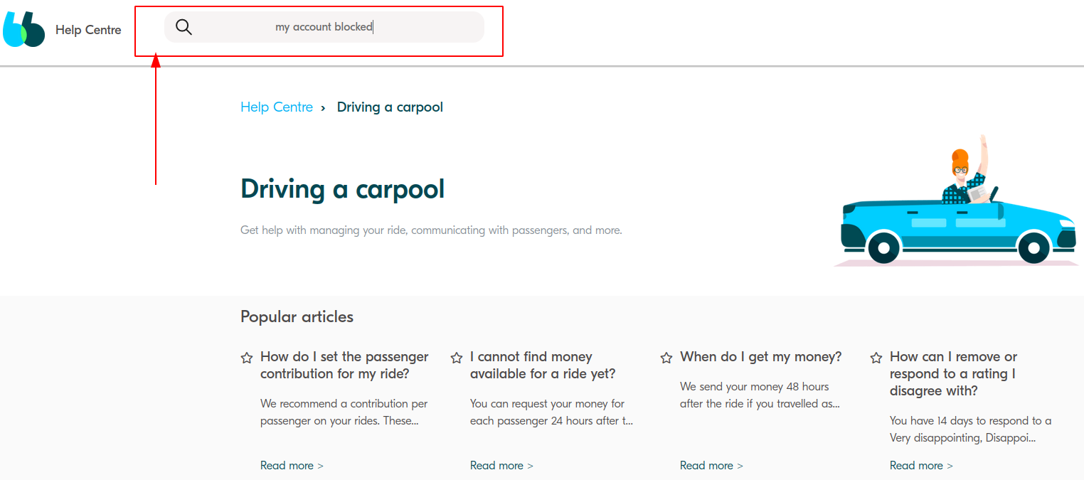 Find the necessary article on the online BlaBlacar client service