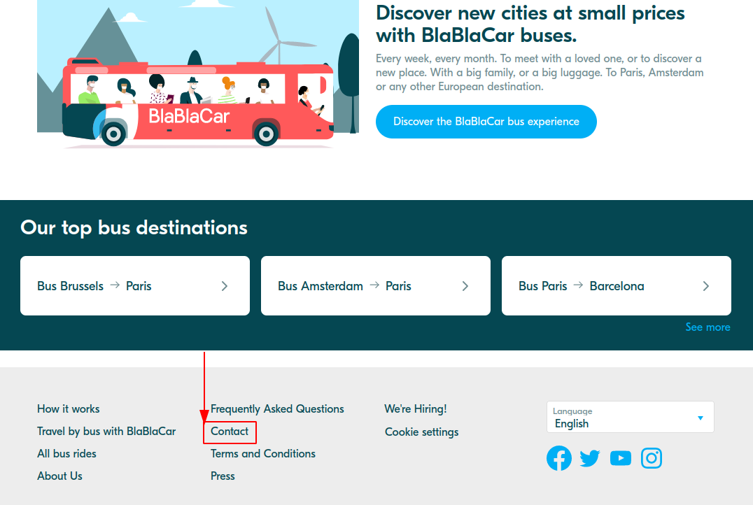 Open the BlaBlacar client service tab