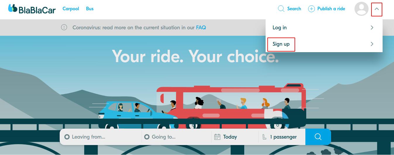 Create a BlaBlaCar fake account on the website