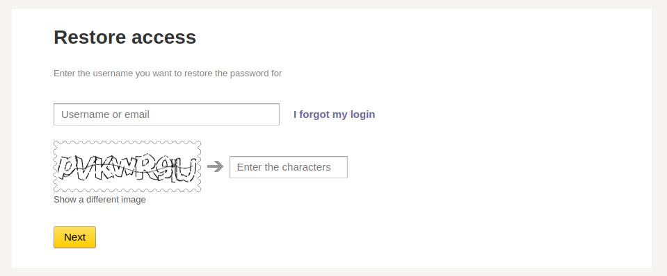 Recover Yandex account via the restoration form