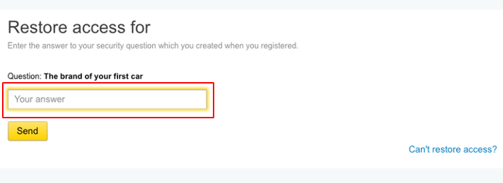 How to recover Yandex account without phone number via a secret question