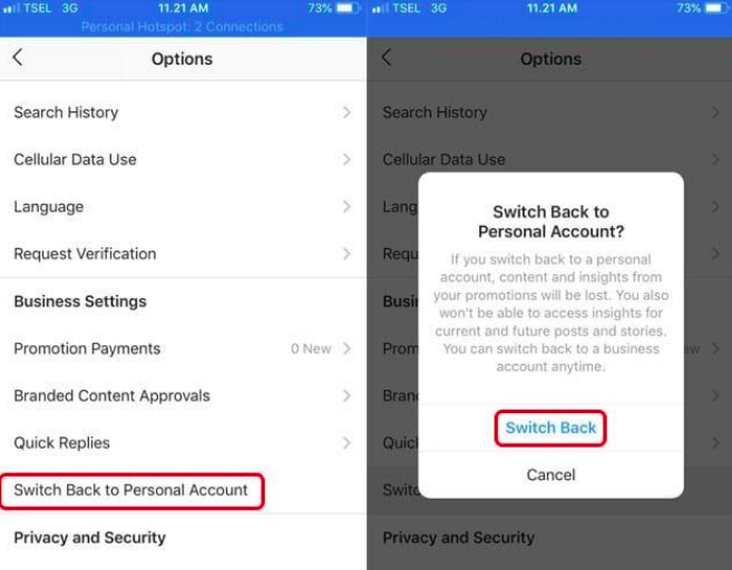 How to switch off a business account on Instagram?
